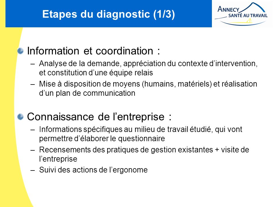 Etapes du diagnostic (1/3)