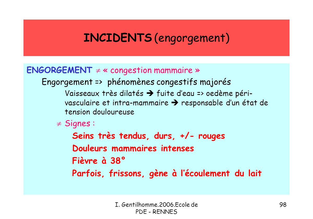 INCIDENTS (engorgement)