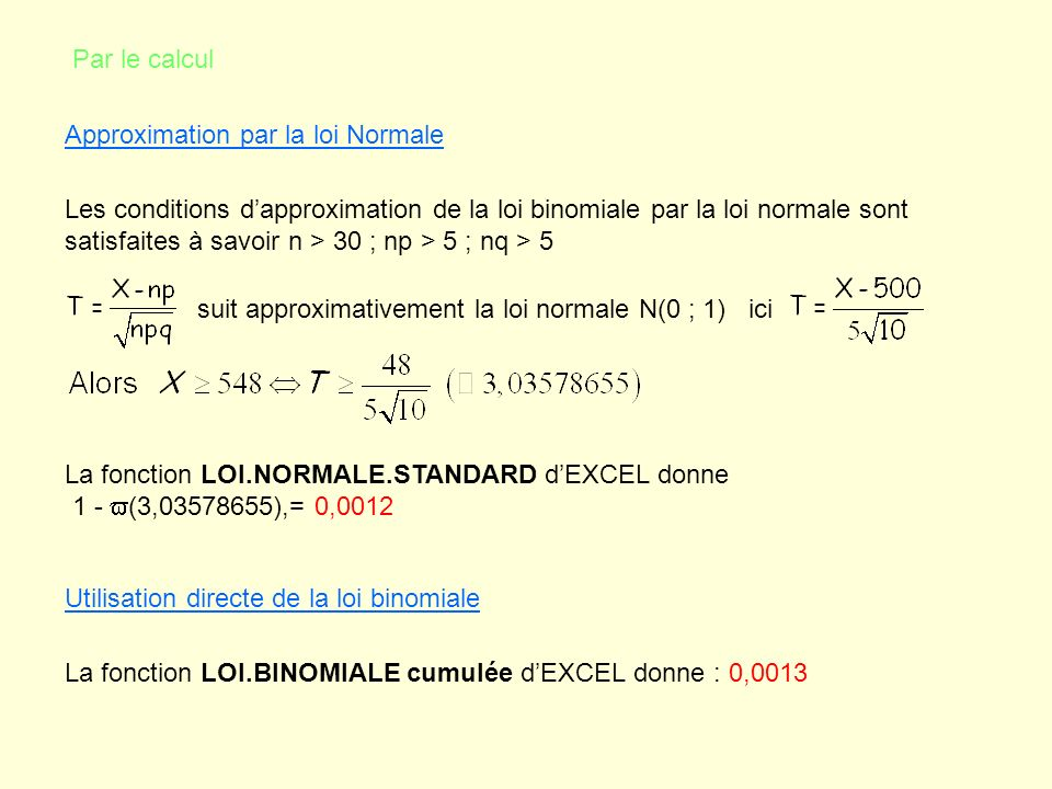 Par le calcul Approximation par la loi Normale.