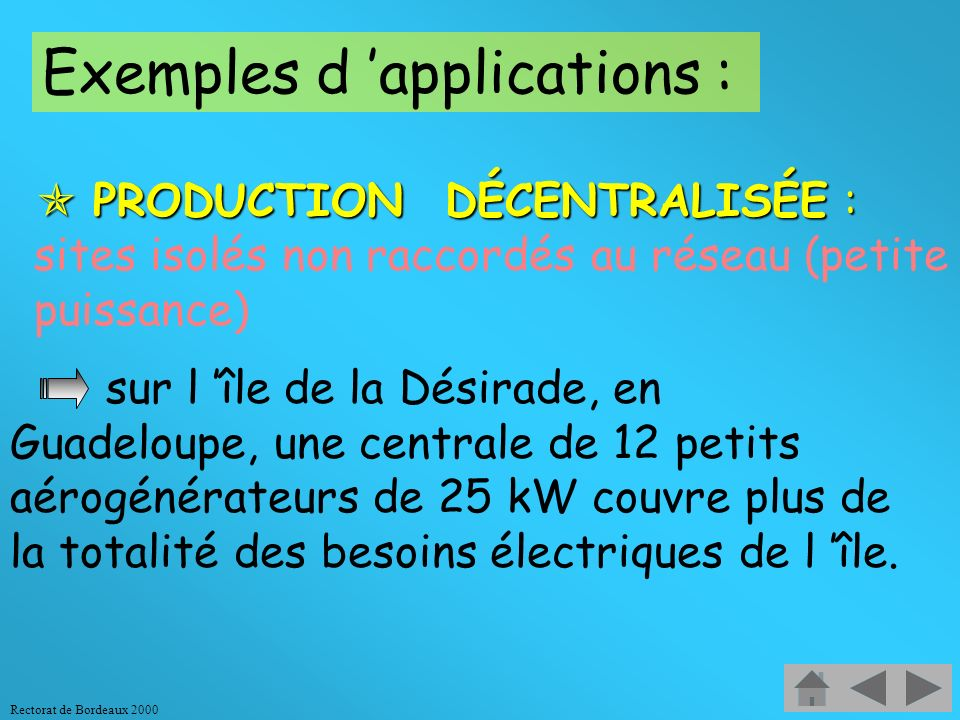 Exemples d 'applications :