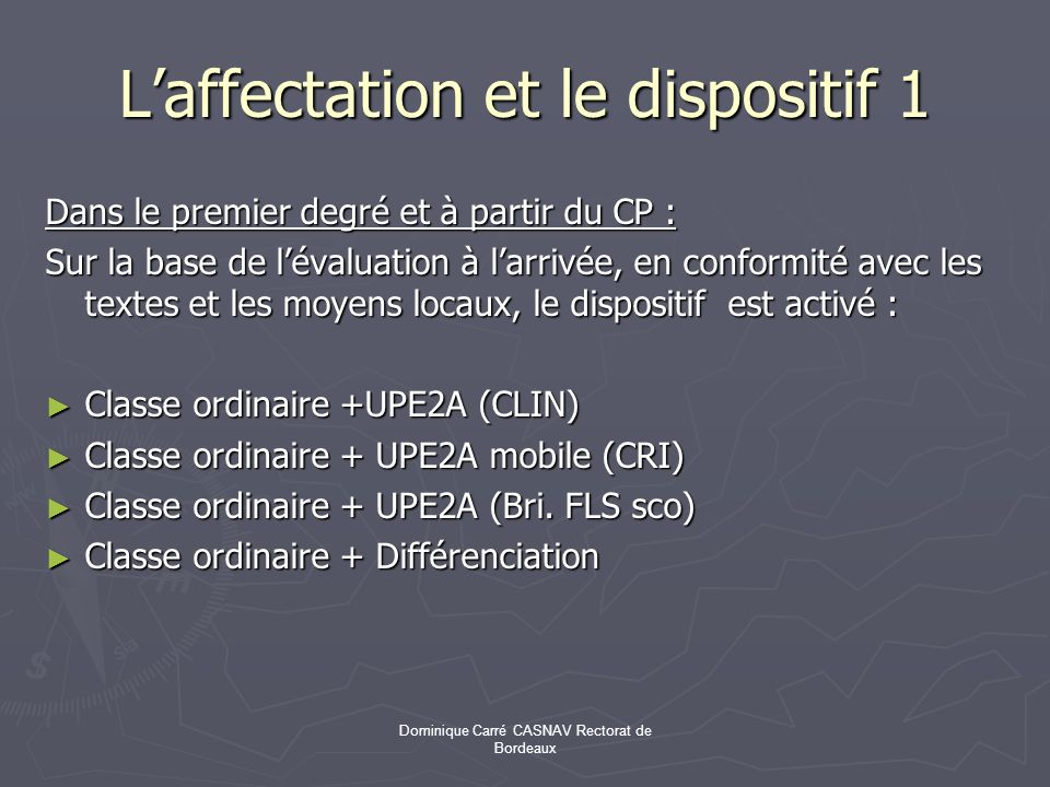 L'affectation et le dispositif 1