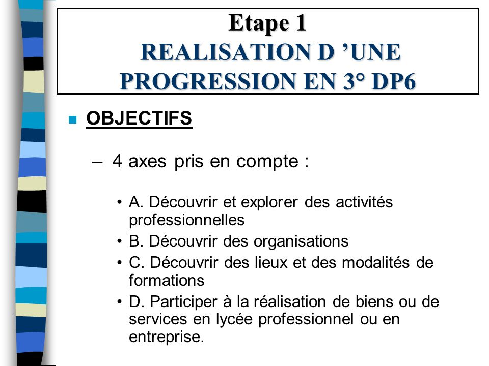 Etape 1 REALISATION D 'UNE PROGRESSION EN 3° DP6