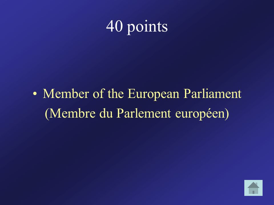40 points Member of the European Parliament