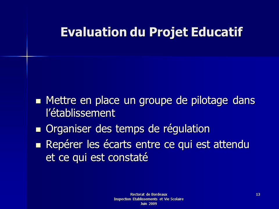 Evaluation du Projet Educatif