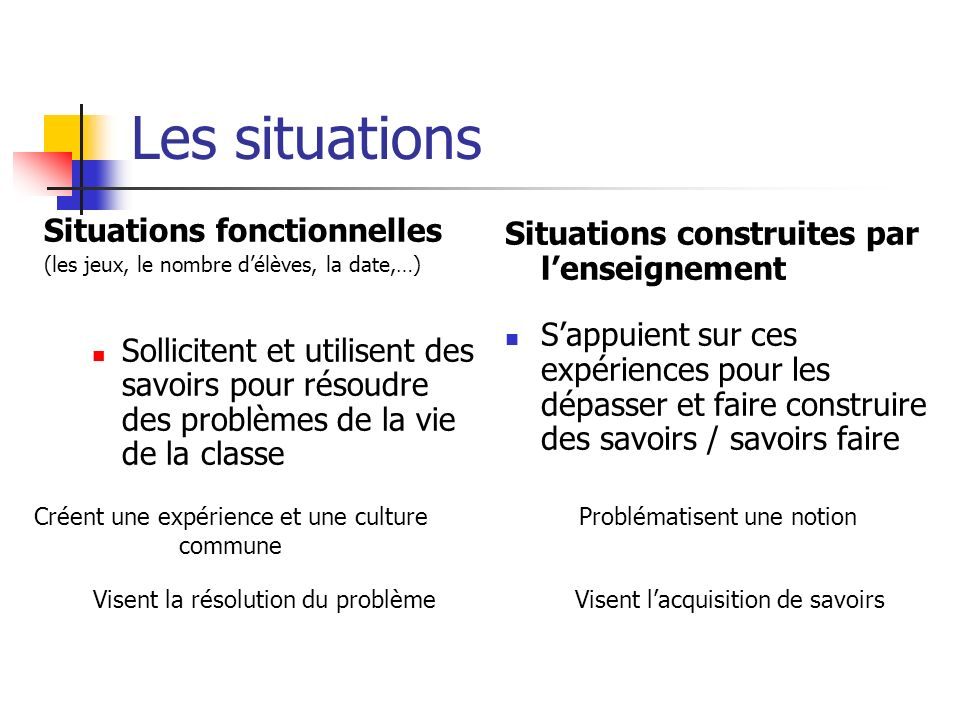 Les situations Situations fonctionnelles
