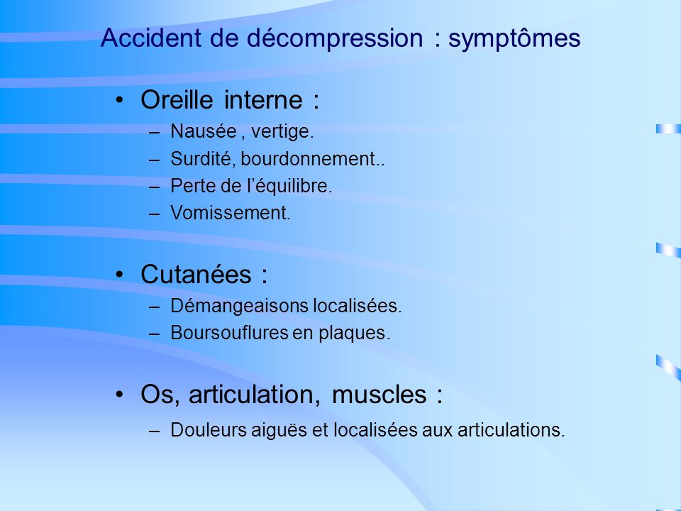 Accident de décompression : symptômes