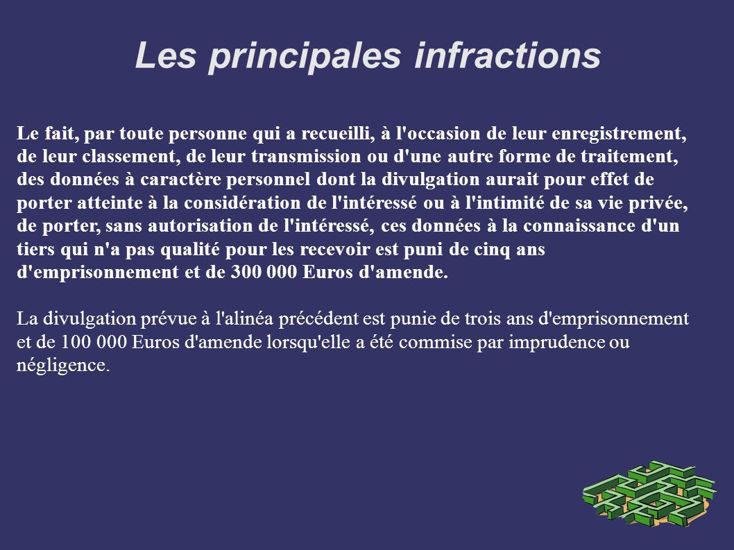 Les principales infractions