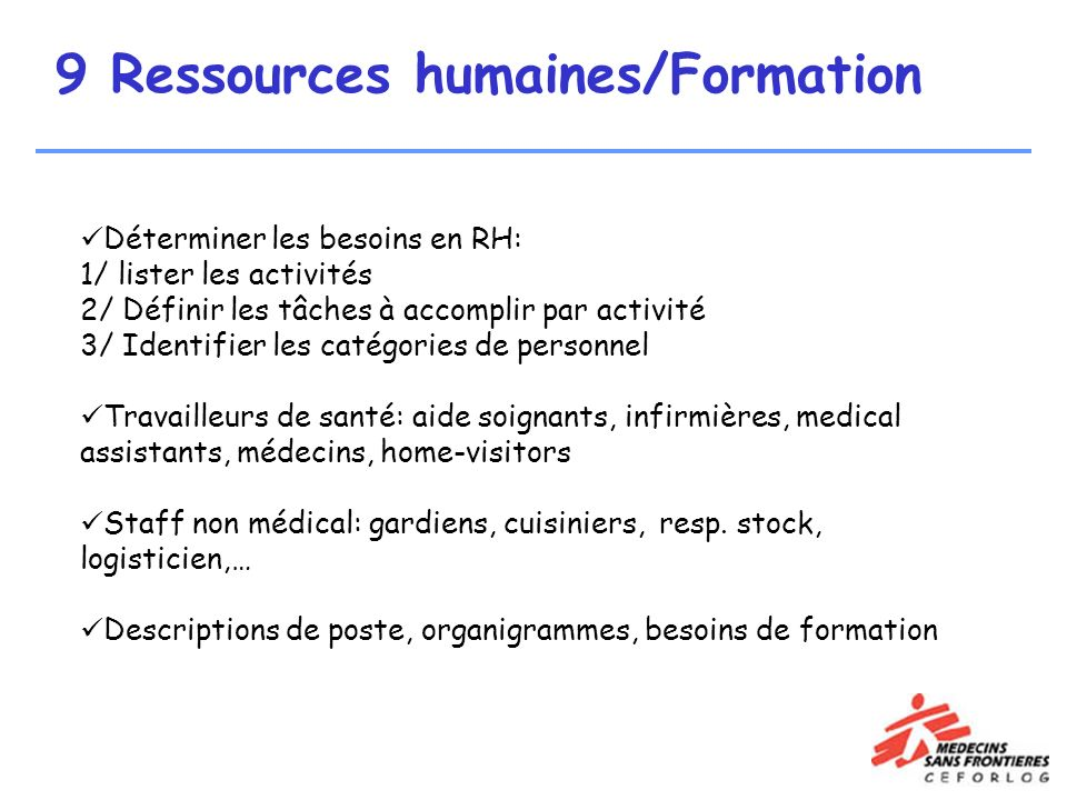 9 Ressources humaines/Formation