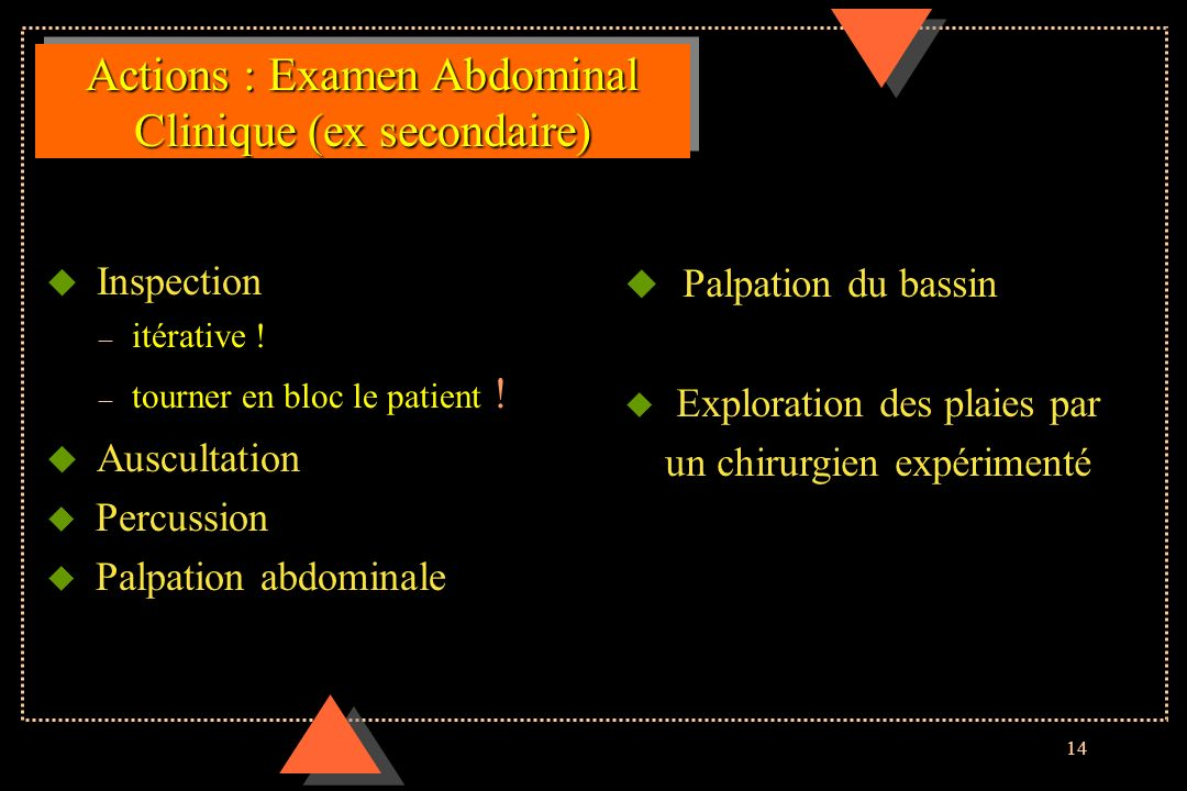 Actions : Examen Abdominal Clinique (ex secondaire)