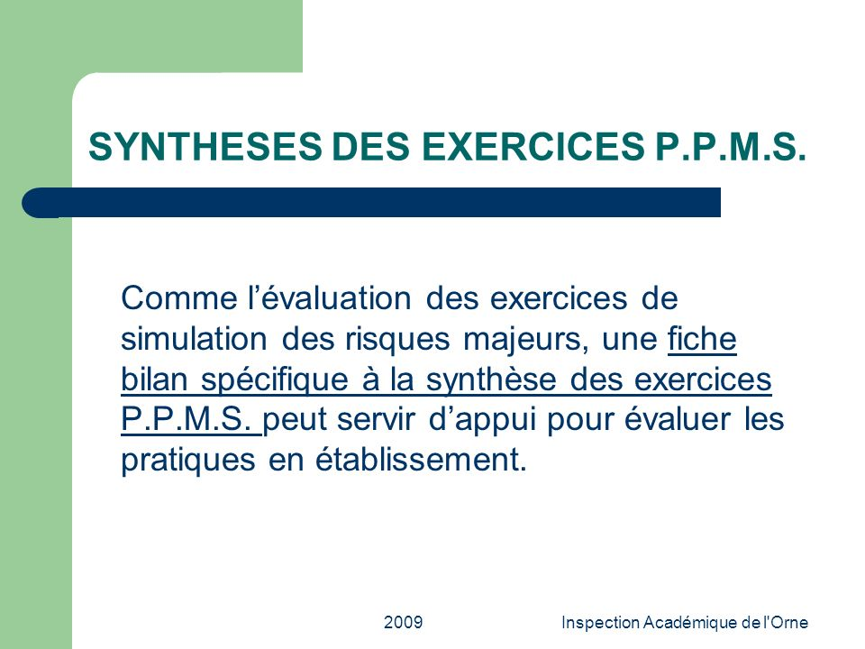SYNTHESES DES EXERCICES P.P.M.S.
