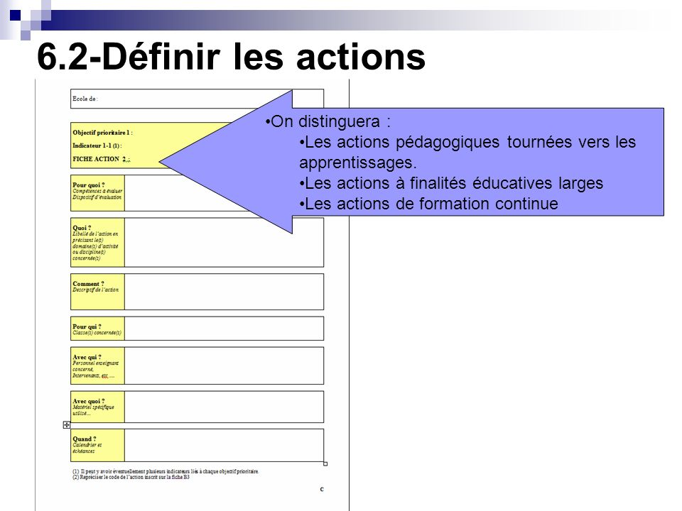 6.2-Définir les actions On distinguera :