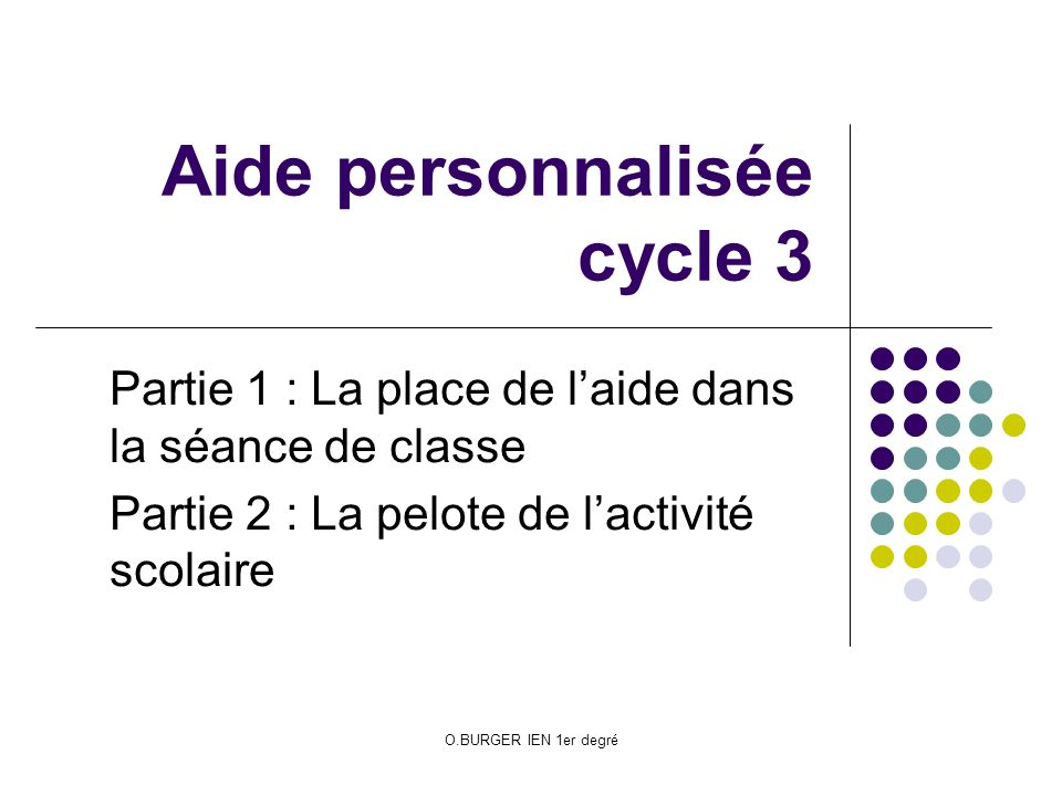 Aide personnalisée cycle 3
