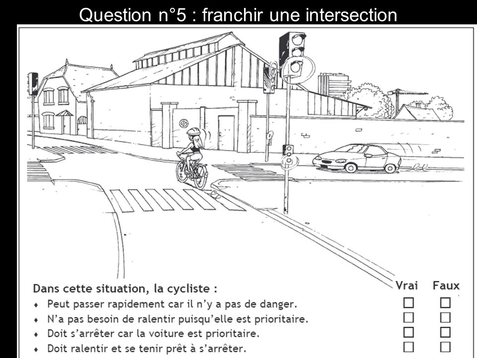 Question n°5 : franchir une intersection