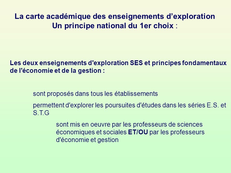 La carte académique des enseignements d'exploration