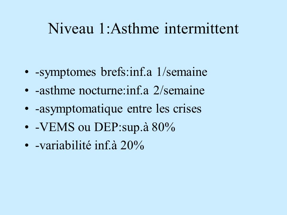Niveau 1:Asthme intermittent
