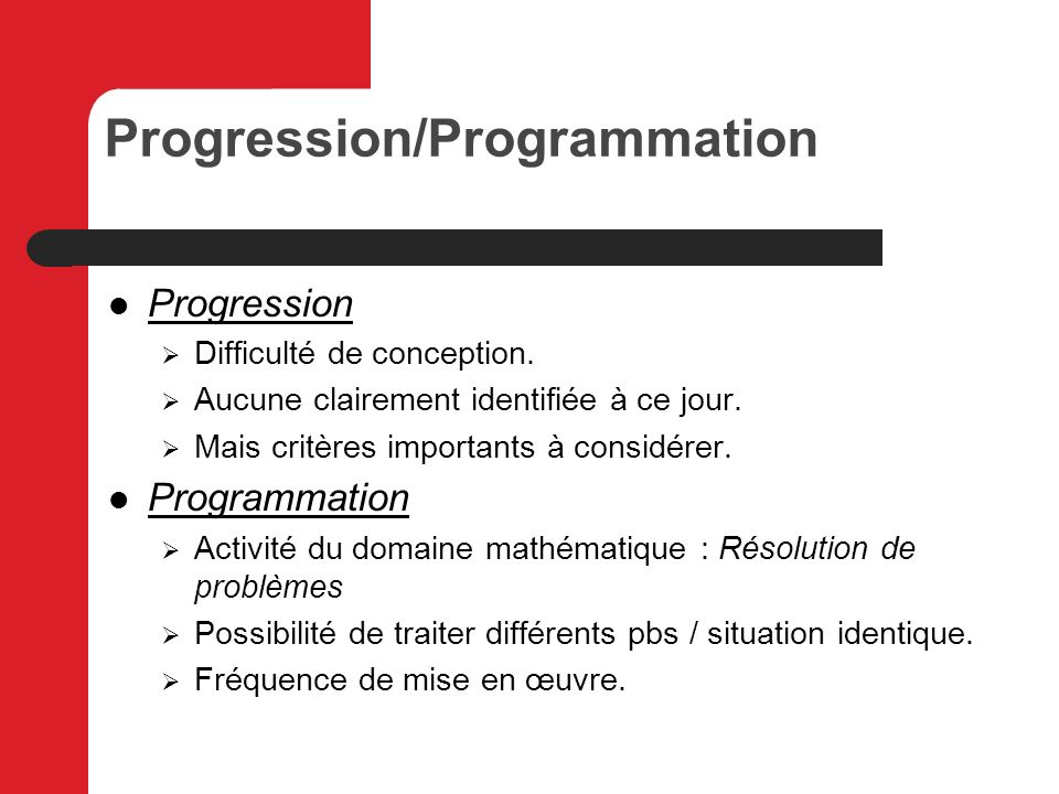 Progression/Programmation