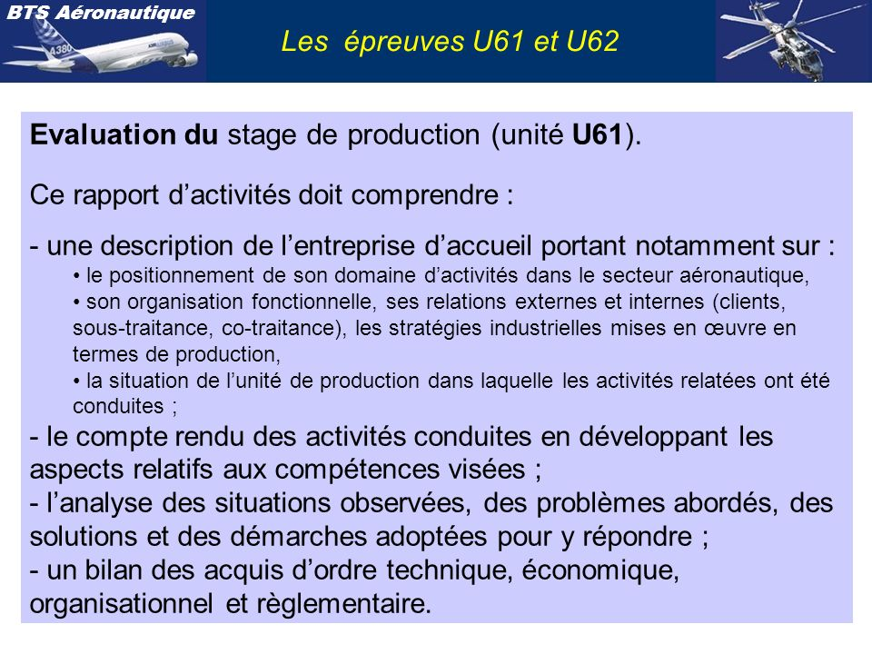 Evaluation du stage de production (unité U61).