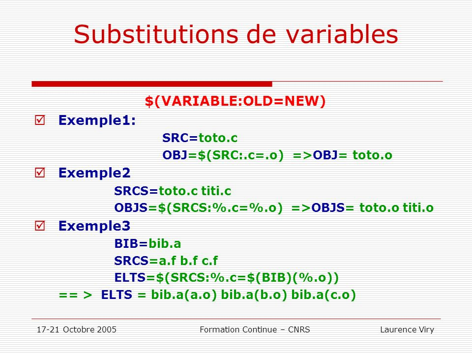 Substitutions de variables