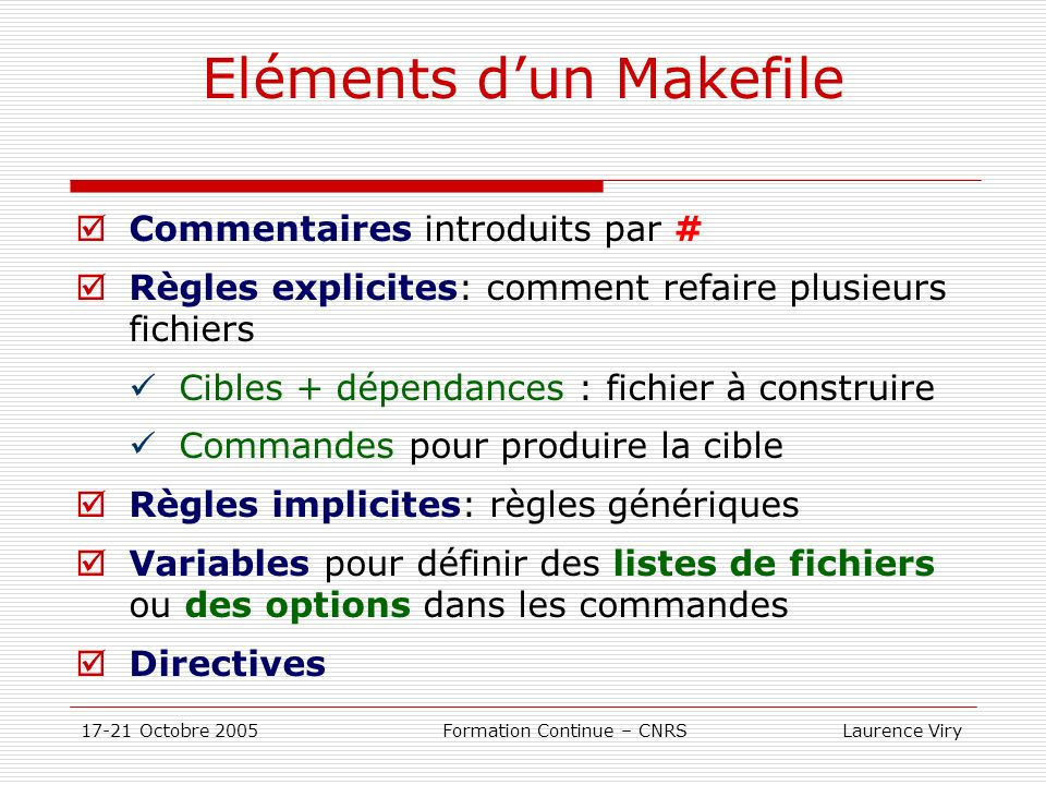 Eléments d'un Makefile