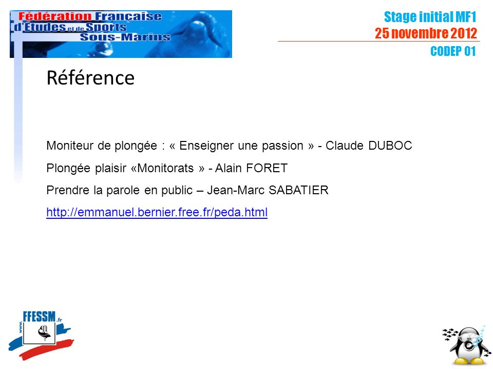 Référence Stage initial MF1 25 novembre 2012 CODEP 01