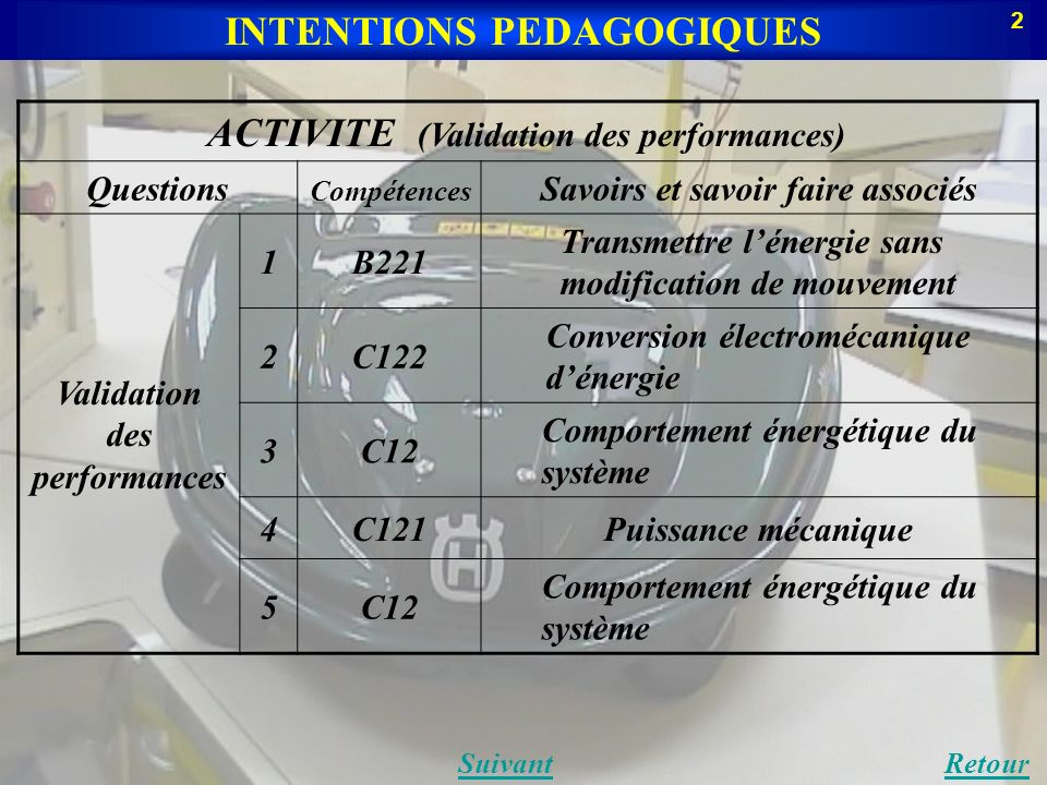 INTENTIONS PEDAGOGIQUES Validation des performances