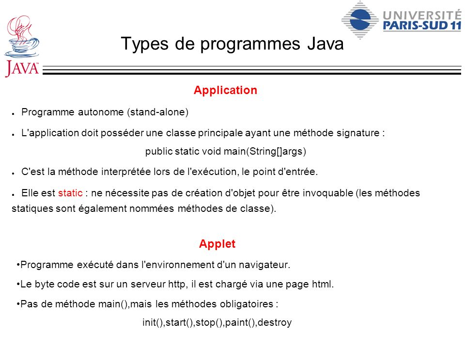 Types de programmes Java