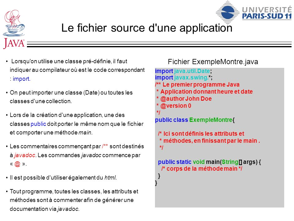 Le fichier source d une application