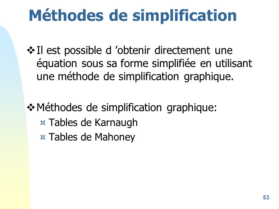 Méthodes de simplification