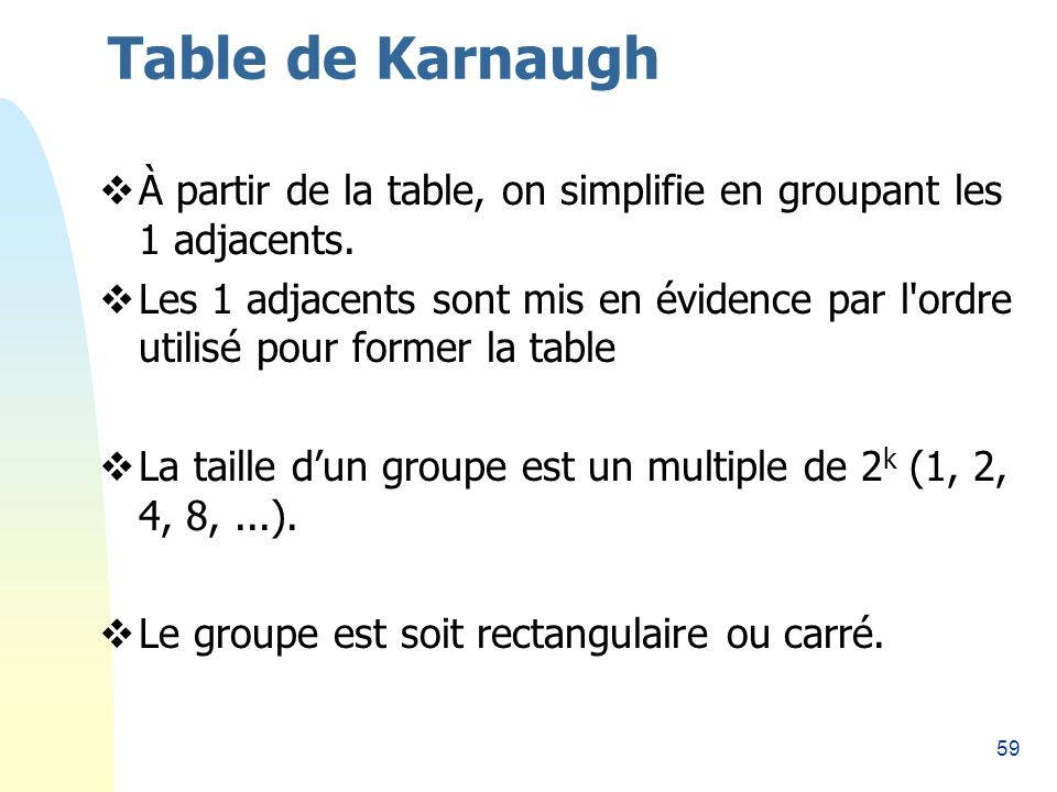 Table de Karnaugh 26/03/2017. À partir de la table, on simplifie en groupant les 1 adjacents.