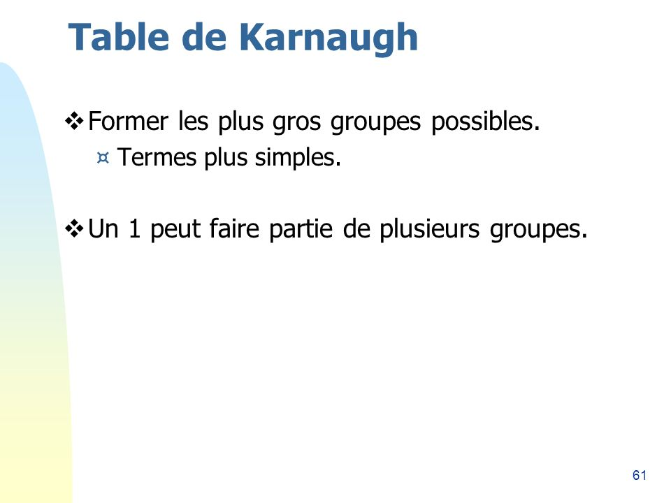 Table de Karnaugh Former les plus gros groupes possibles.