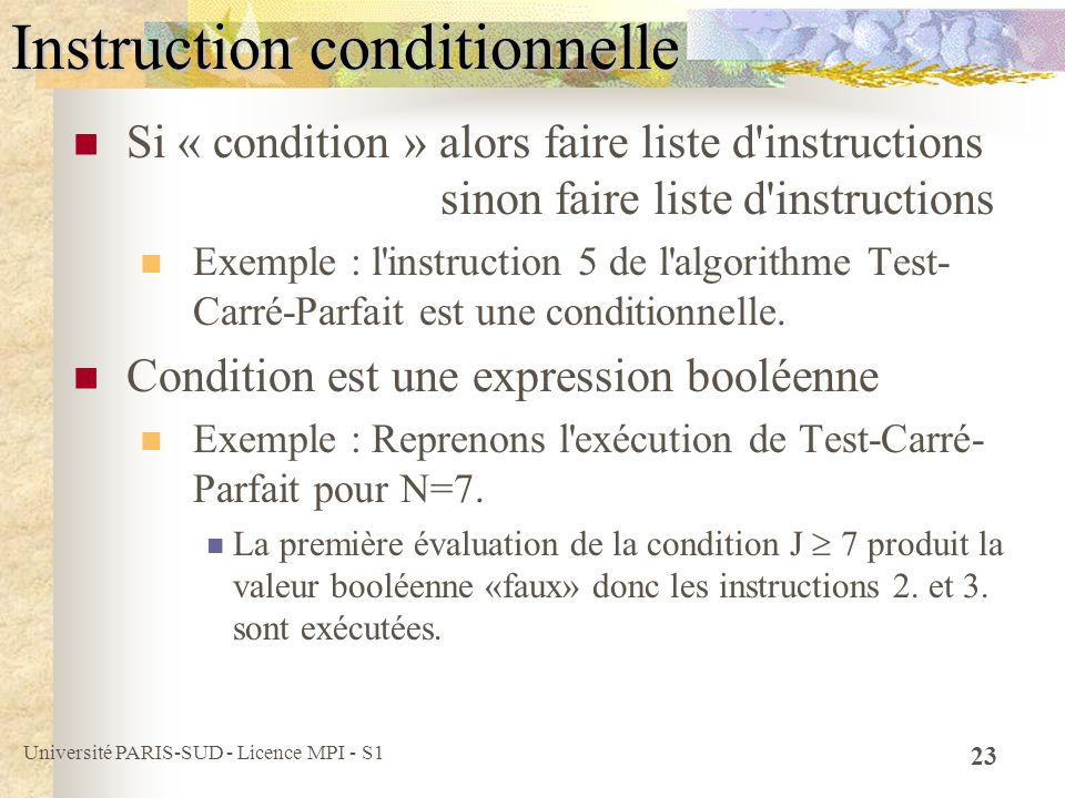 Instruction conditionnelle