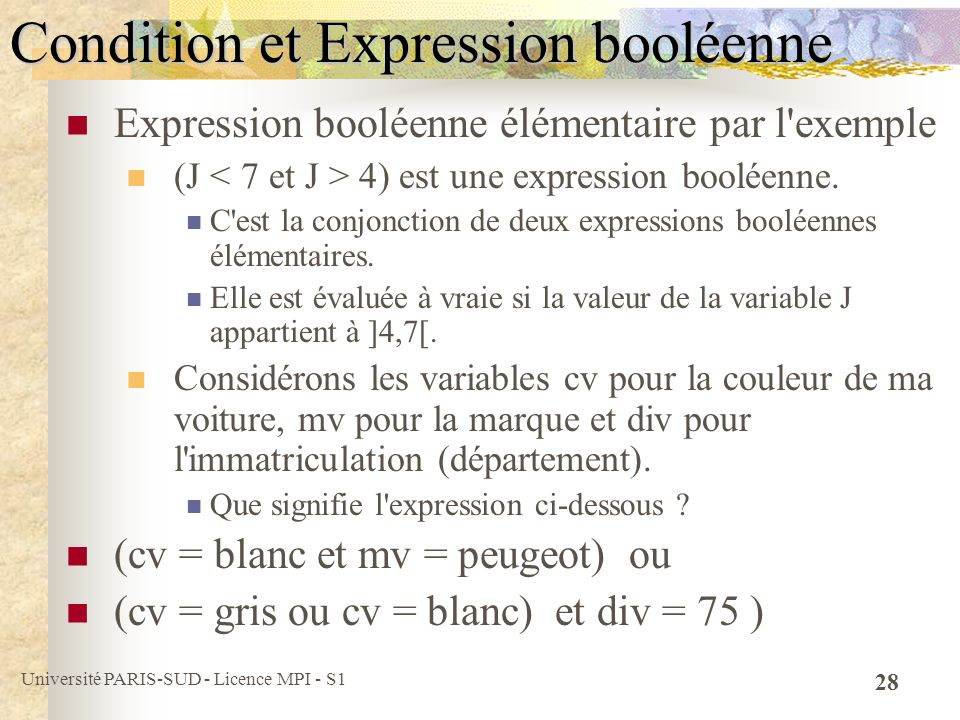 Condition et Expression booléenne