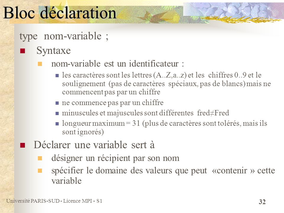 Bloc déclaration type nom-variable ; Syntaxe