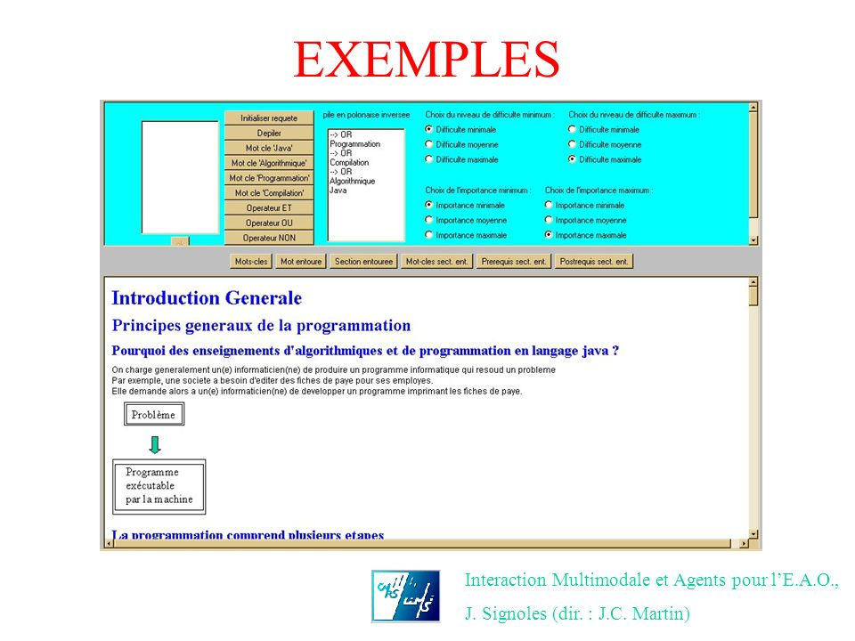 EXEMPLES Interaction Multimodale et Agents pour l'E.A.O.,