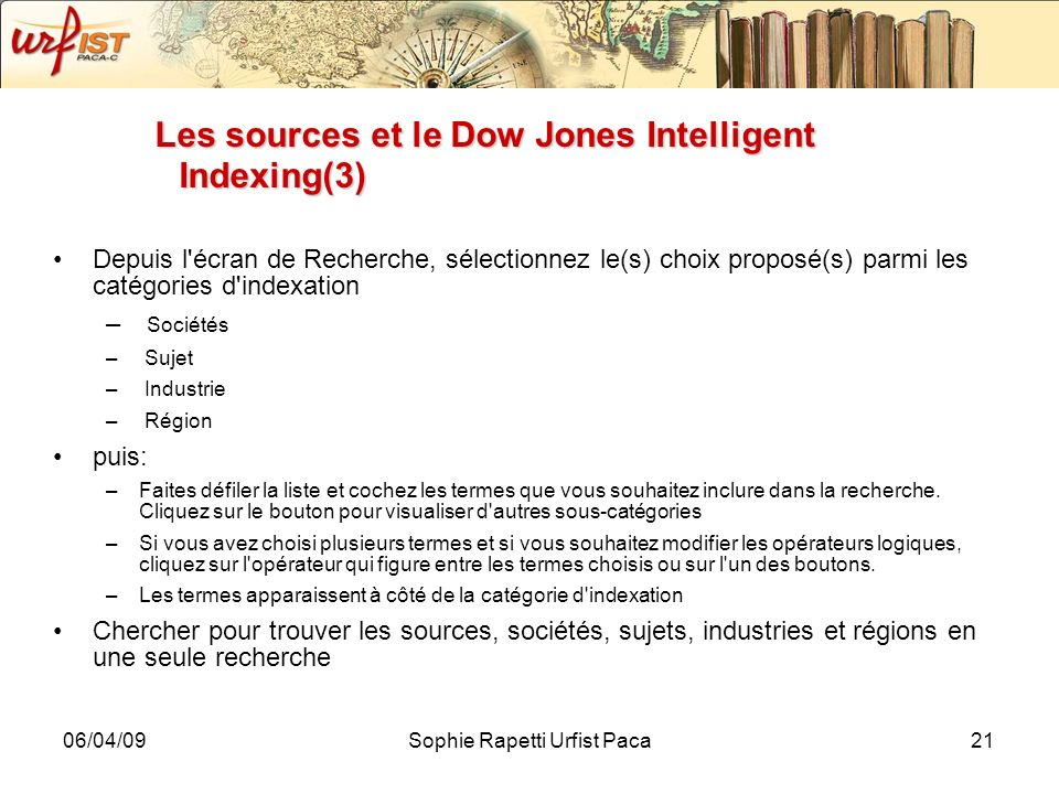 Les sources et le Dow Jones Intelligent Indexing(3)