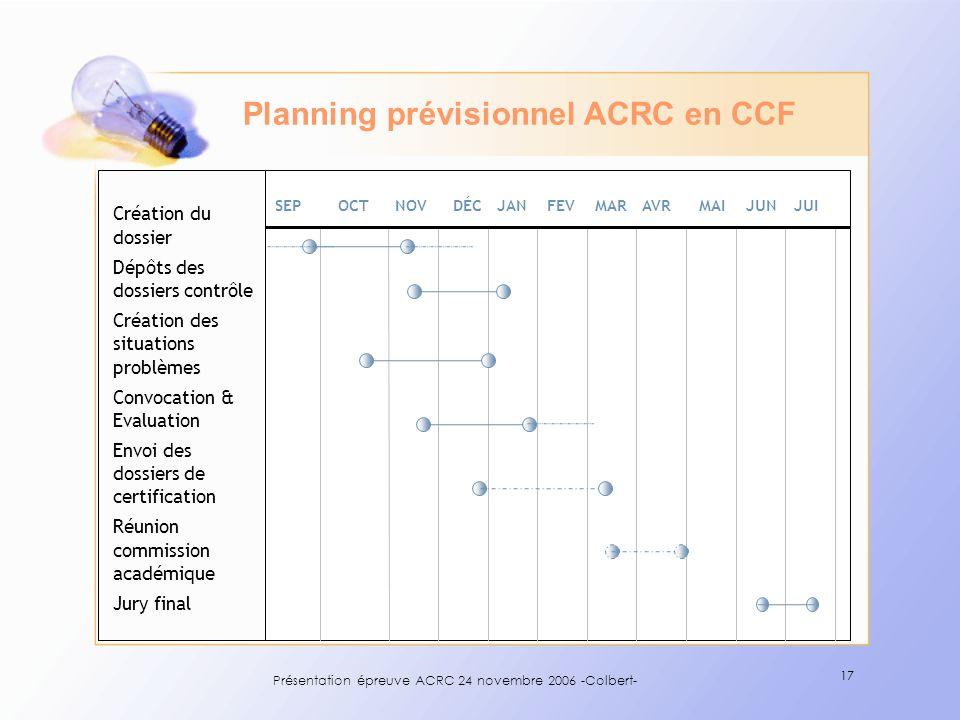 Présentation épreuve ACRC 24 novembre Colbert- - ppt télécharger Planning prévisionnel ACRC en CCF