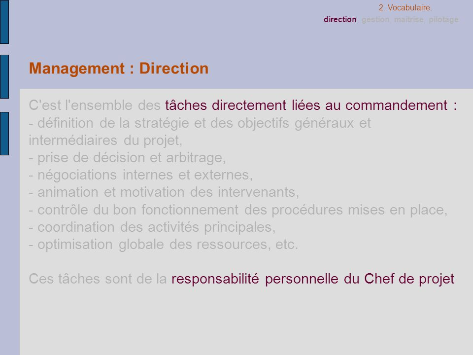 Management : Direction