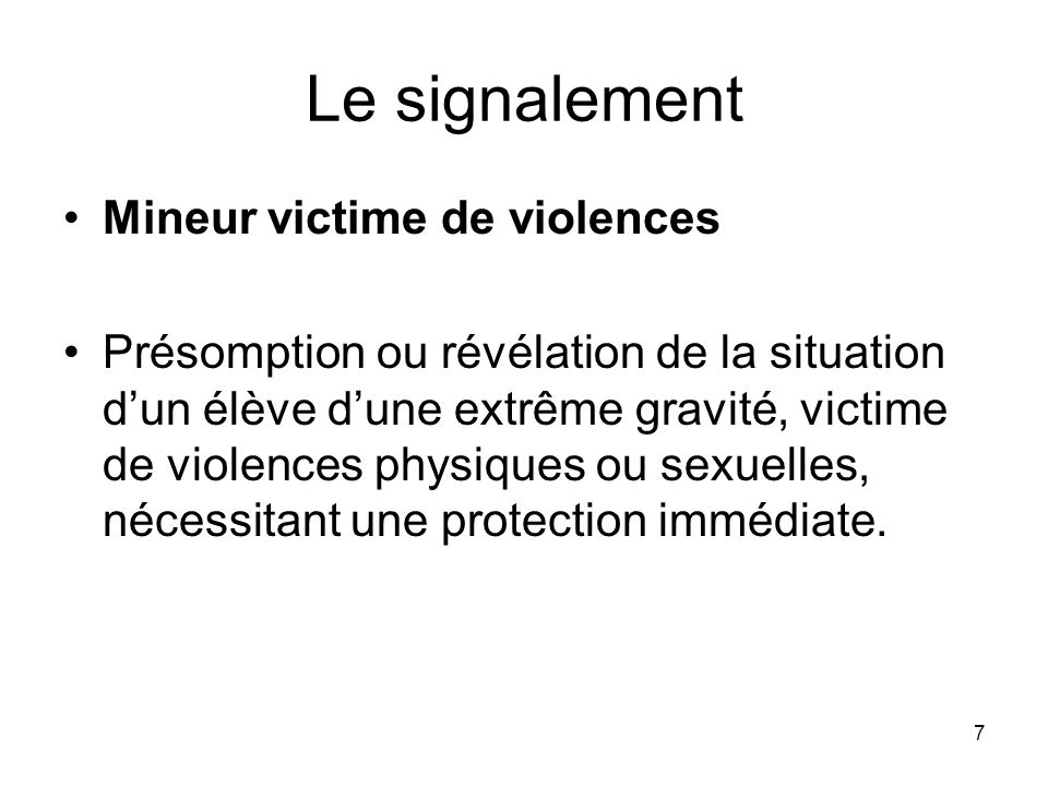 Le signalement Mineur victime de violences