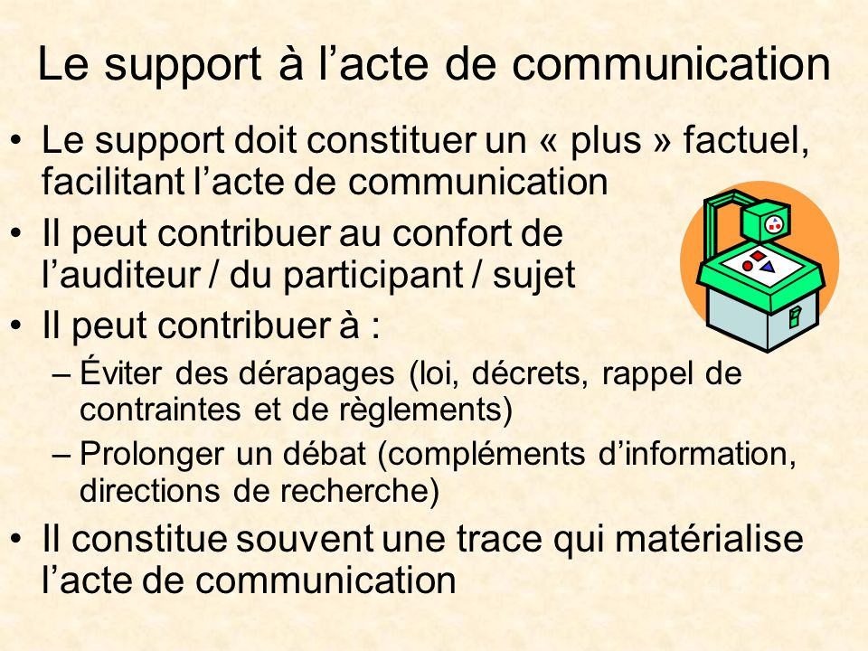Le support à l'acte de communication