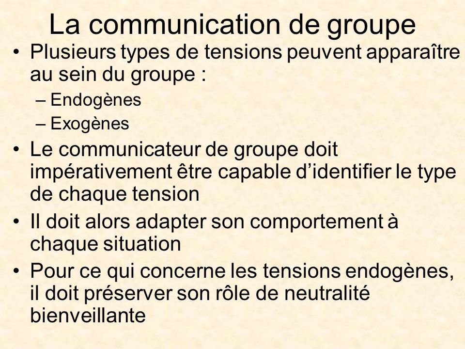 La communication de groupe