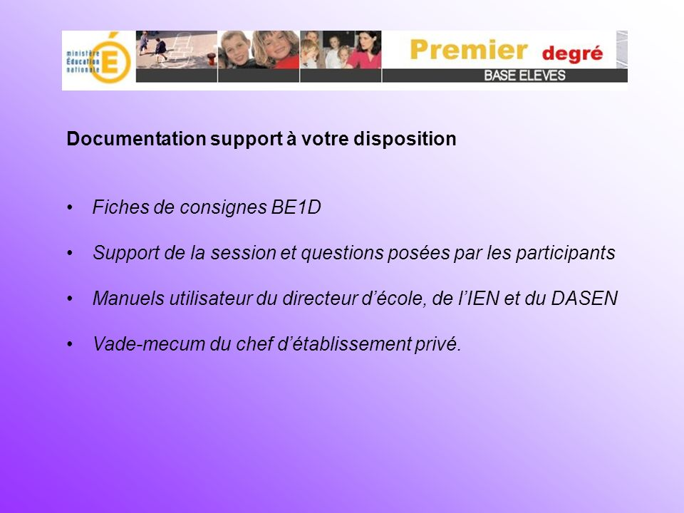 Documentation support à votre disposition