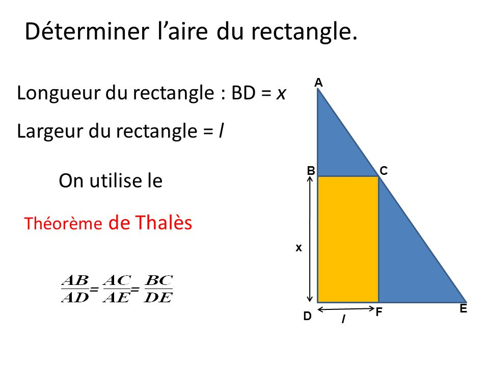 Déterminer l'aire du rectangle.