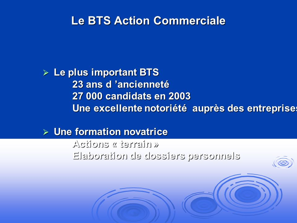 Le BTS Action Commerciale