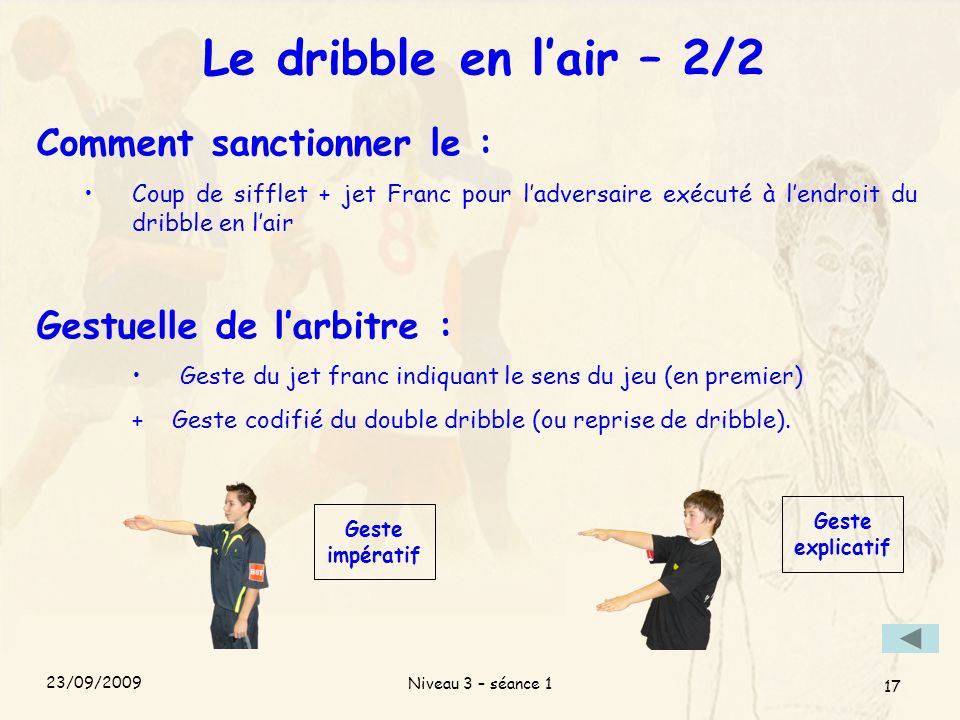 Le dribble en l'air – 2/2 Comment sanctionner le :