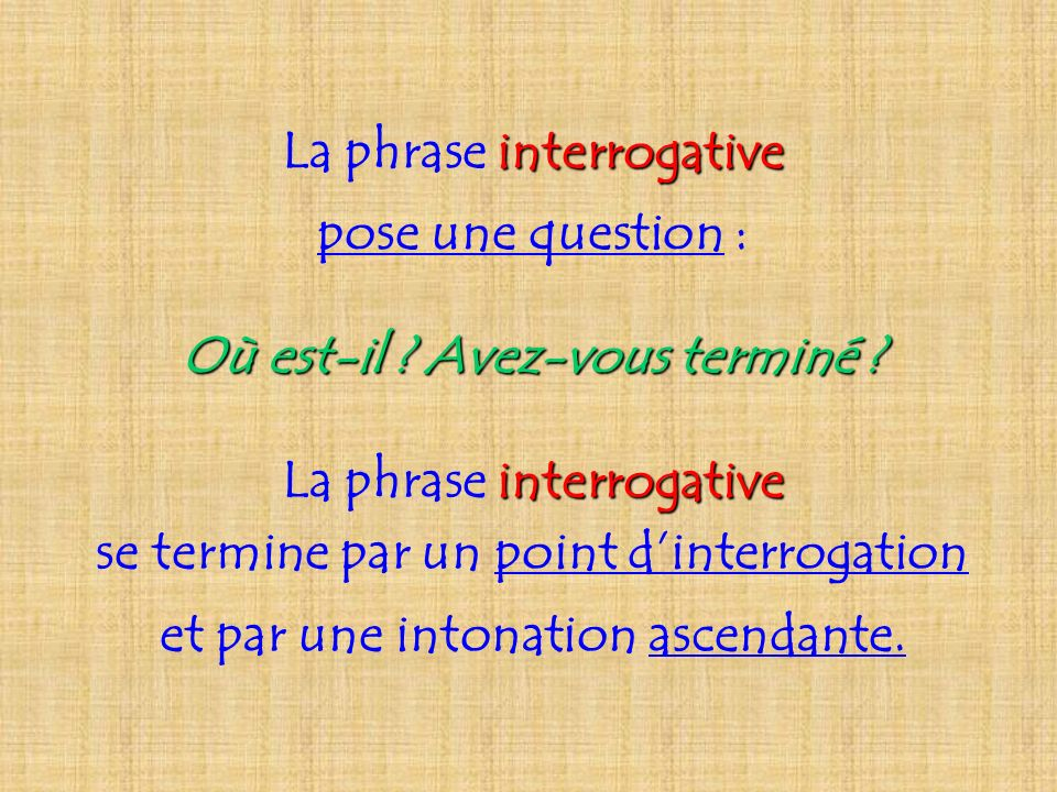La phrase interrogative pose une question :