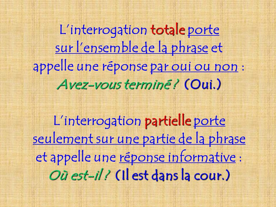 L'interrogation totale porte sur l'ensemble de la phrase et