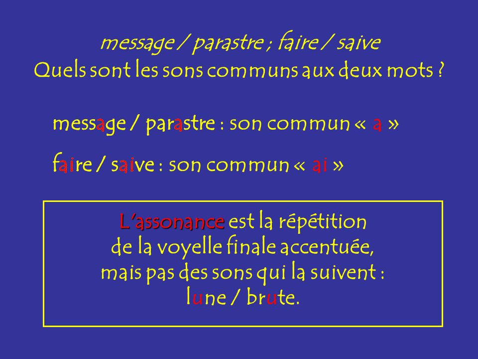 message / parastre ; faire / saive