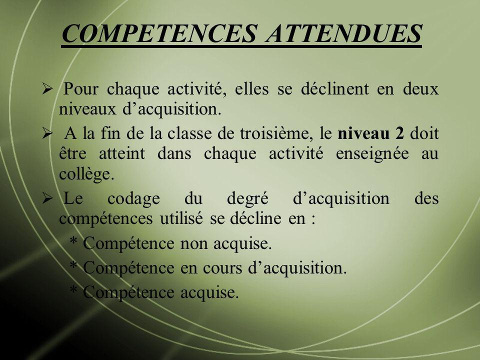 COMPETENCES ATTENDUES
