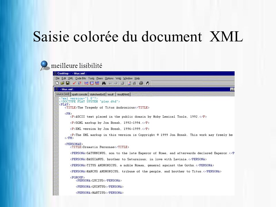 Saisie colorée du document XML