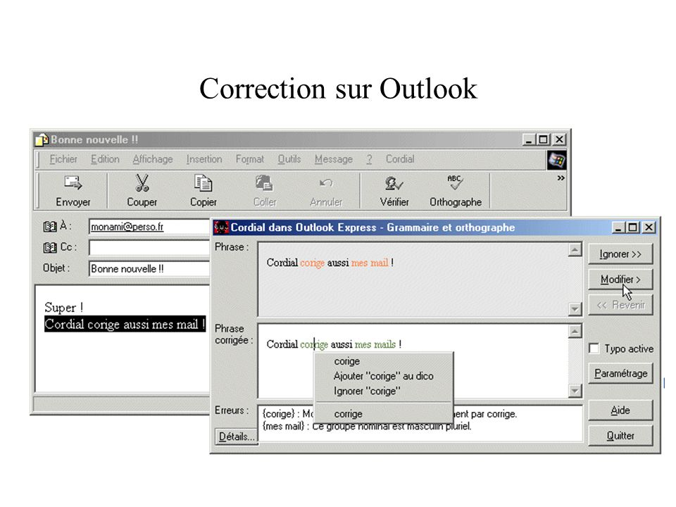 Correction sur Outlook